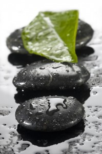 spa stones with water drops